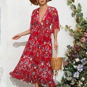 Shein Floral Print Plunging Neck Flounce Hem Dress
